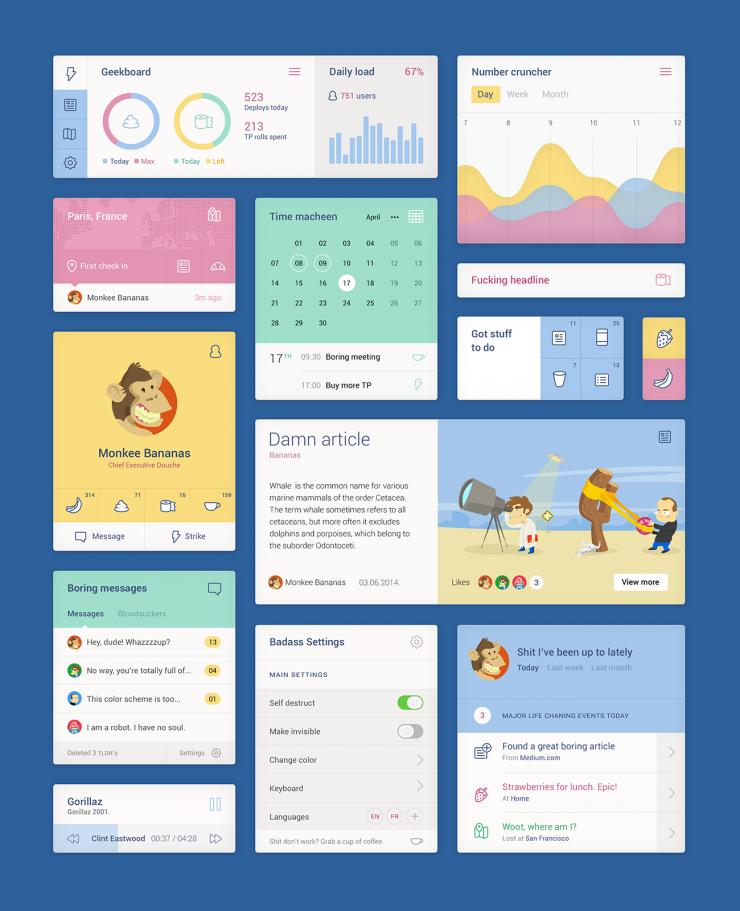Unity Colorful Web Flat UI Elements Kit ui set, ui kit, UI elements, UI, settings app, set, metro, Kit, graph, free download, Free, Flat, Colorful, Calendar, blocks,
